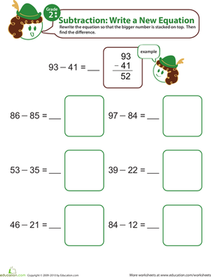 Second Grade Math Worksheets: Writing Subtraction Equations 5