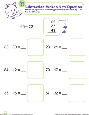 Second Grade Math Worksheets: Writing Subtraction Equations 2