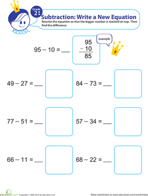 Second Grade Math Worksheets: Writing Subtraction Equations 7