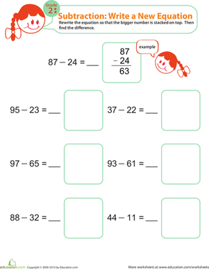 Second Grade Math Worksheets: Writing Subtraction Equations 3