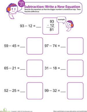 Second Grade Math Worksheets: Writing Subtraction Equations 9