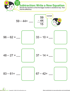 Second Grade Math Worksheets: Writing Subtraction Equations 8