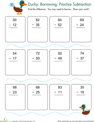 Second Grade Math Worksheets: Subtraction with Regrouping Practice