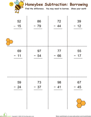Second Grade Math Worksheets: Subtraction with Borrowing: Honeybees!