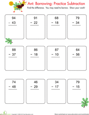 Second Grade Math Worksheets: Borrowing in Subtraction