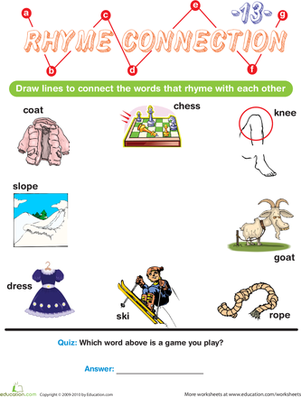 Preschool Reading & Writing Worksheets: Rhyme Connection 13