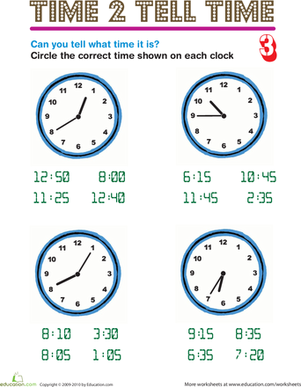 Second Grade Math Worksheets: Time 2 Tell Time 3