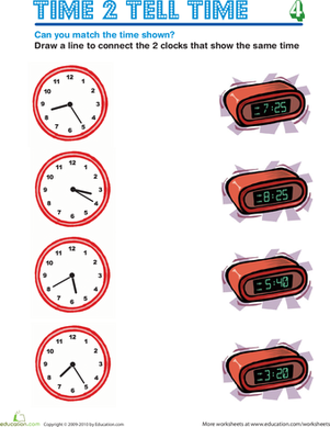 Second Grade Math Worksheets: Time 2 Tell Time 4