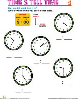 Second Grade Math Worksheets: Time 2 Tell Time 5