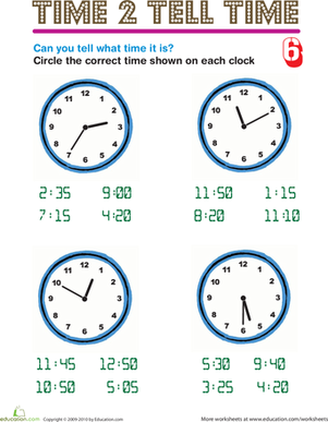 Second Grade Math Worksheets: Time 2 Tell Time 6