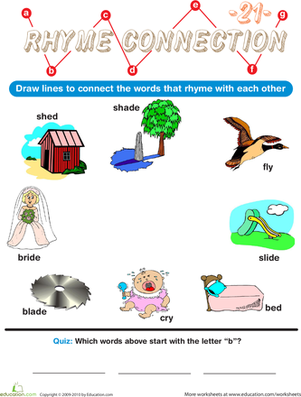 Preschool Reading & Writing Worksheets: Rhyme Connection 21