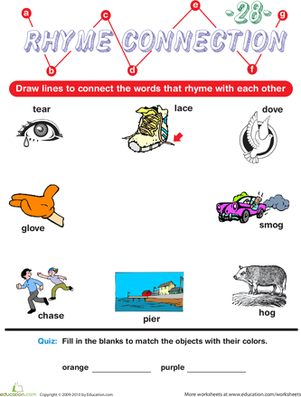 Preschool Reading & Writing Worksheets: Rhyme Connection 28
