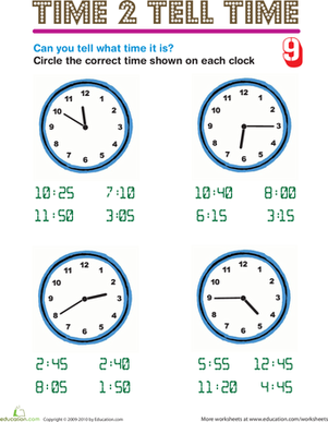 Second Grade Math Worksheets: Time 2 Tell Time 9