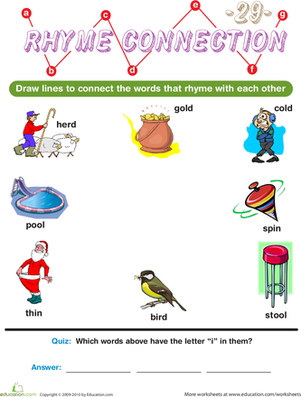 Preschool Reading & Writing Worksheets: Rhyme Connection 29
