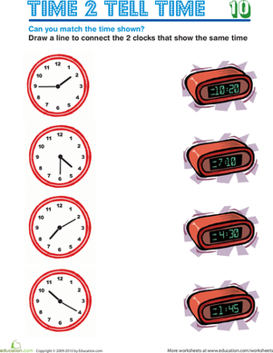 Second Grade Math Worksheets: Time 2 Tell Time 10