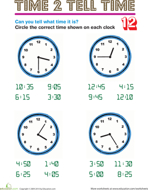 Second Grade Math Worksheets: Time 2 Tell Time 12