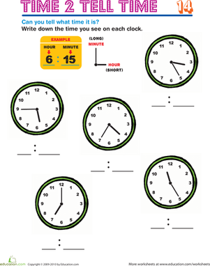 Second Grade Math Worksheets: Time 2 Tell Time 14