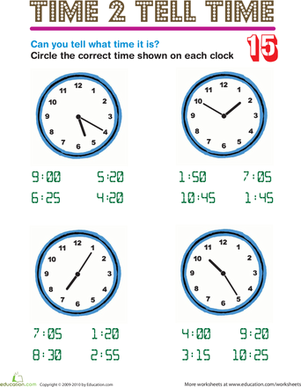 Second Grade Math Worksheets: Time 2 Tell Time 15