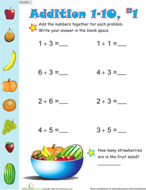 First Grade Math Worksheets: Practice One-Digit Addition 1