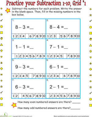First Grade Math Worksheets: Practice One-Digit Subtraction Grid 1