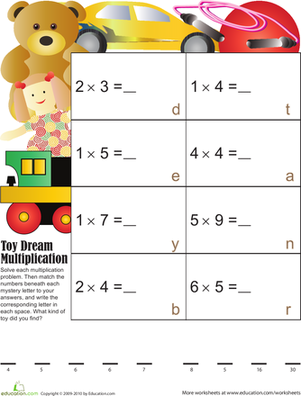 Third Grade Math Worksheets: Toy Dream Multiplication