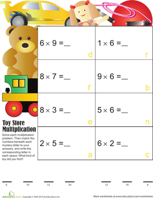 Third Grade Math Worksheets: Toy Store Multiplication
