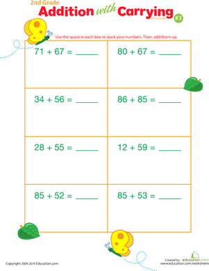 Second Grade Math Worksheets: Addition with Carrying 3