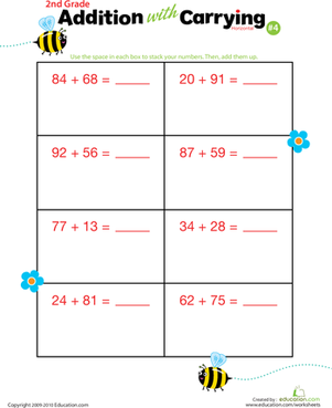 Second Grade Math Worksheets: Addition with Carrying 4