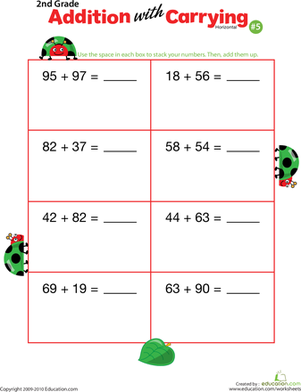 Second Grade Math Worksheets: Addition with Carrying 5