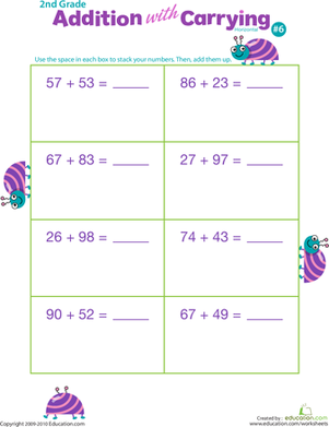 Second Grade Math Worksheets: Addition with Carrying 6
