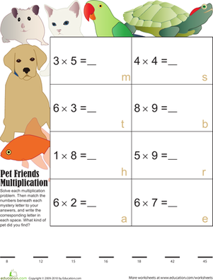 Third Grade Math Worksheets: Pet Pals Mystery Multiplication