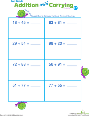 Second Grade Math Worksheets: Addition with Carrying 7