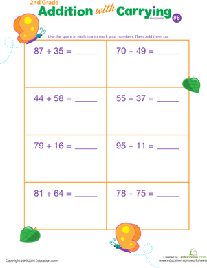 Second Grade Math Worksheets: Addition with Carrying 8