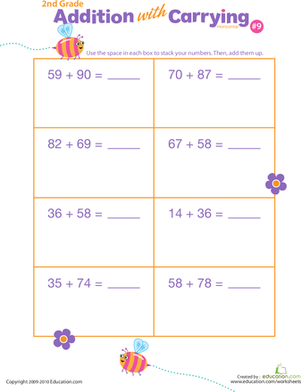 Second Grade Math Worksheets: Addition with Carrying 9