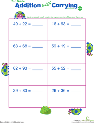 Second Grade Math Worksheets: Addition with Carrying 10