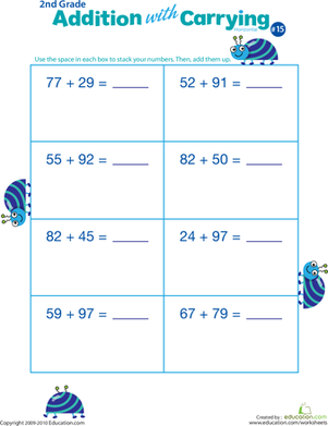 Second Grade Math Worksheets: Addition with Carrying 15