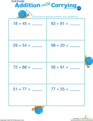 Second Grade Math Worksheets: Addition with Carrying 17