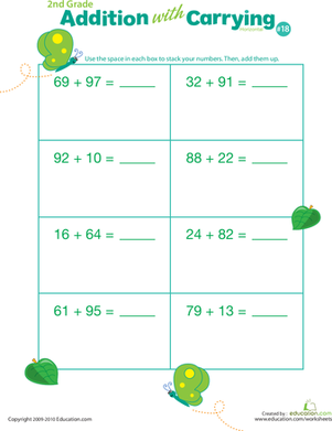 Second Grade Math Worksheets: Addition with Carrying 18