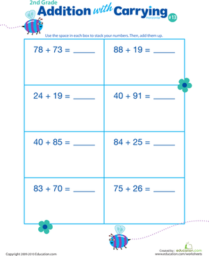 Second Grade Math Worksheets: Addition with Carrying 13