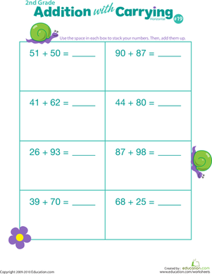 Second Grade Math Worksheets: Addition with Carrying 19