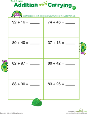 Second Grade Math Worksheets: Addition with Carrying 14