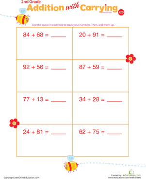 Second Grade Math Worksheets: Addition with Carrying 20
