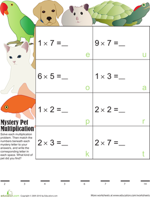Third Grade Math Worksheets: Mystery Multiplication Pets 3