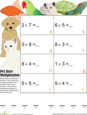 Third Grade Math Worksheets: Mystery Multiplication Pets 4