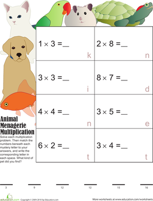 Mystery Multiplication Pets 5
