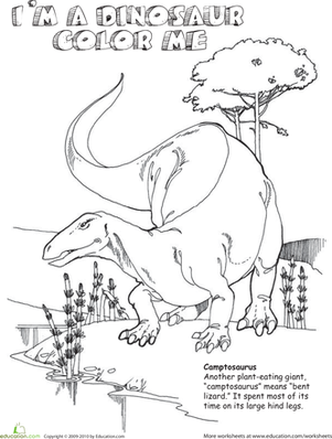 Second Grade Coloring Worksheets: Color the Camptosaurus