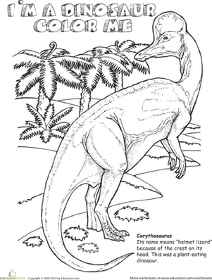 Second Grade Coloring Worksheets: Color the Corythosaurus