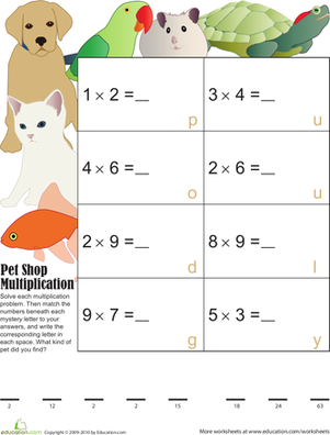 Third Grade Math Worksheets: Mystery Multiplication 6