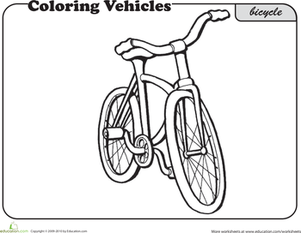 First Grade Coloring Worksheets: Bicycle Coloring Page