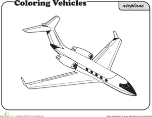 First Grade Coloring Worksheets: Airplane Coloring Page
